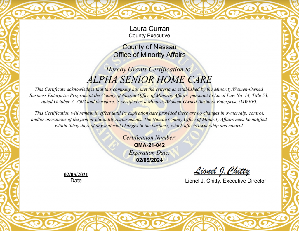 Minority Owned Business Certificate In Nassau County Alpha Senior Home Care