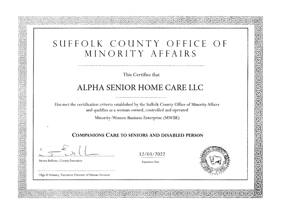 Suffolk County Minority Owned Business Certificate Alpha Senior Home Care